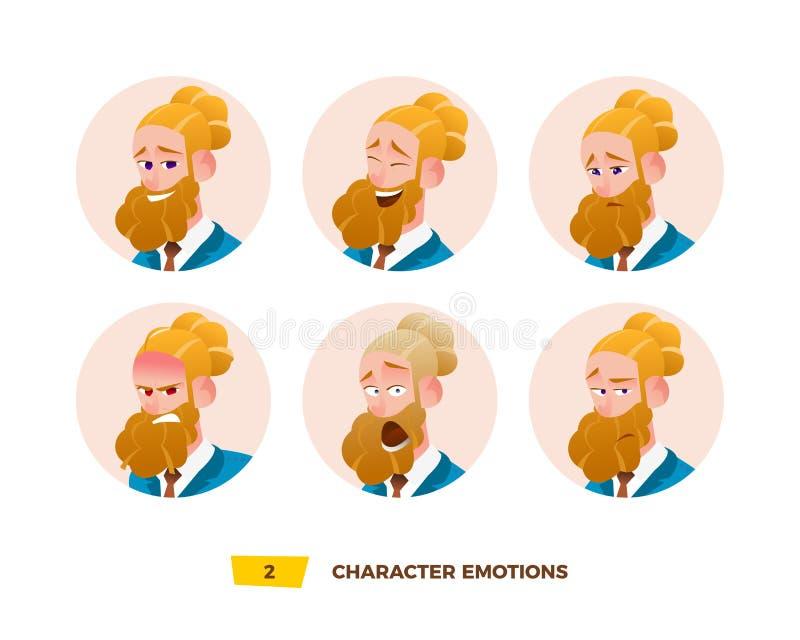 Emoción de los avatares de los caracteres en el círculo libre illustration