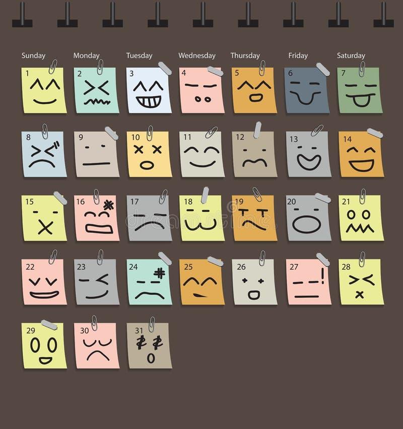 Emoción del calendario del vector con el papel de nota stock de ilustración