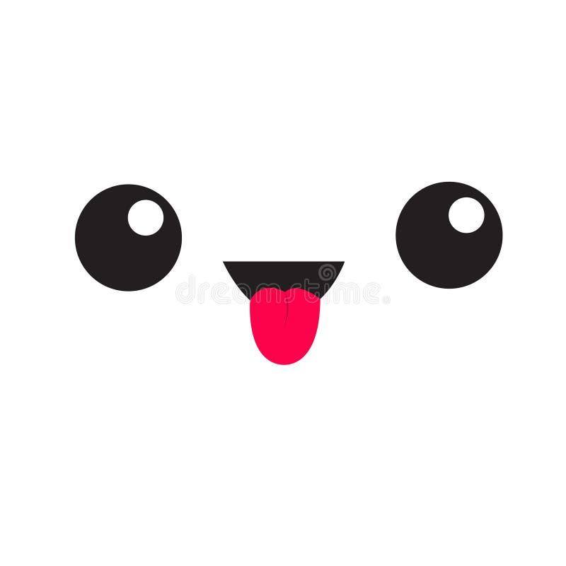 Emoción divertida de la cabeza de la cara del kawaii de la historieta linda Icono de la casilla blanca que muestra la lengua Emoj ilustración del vector