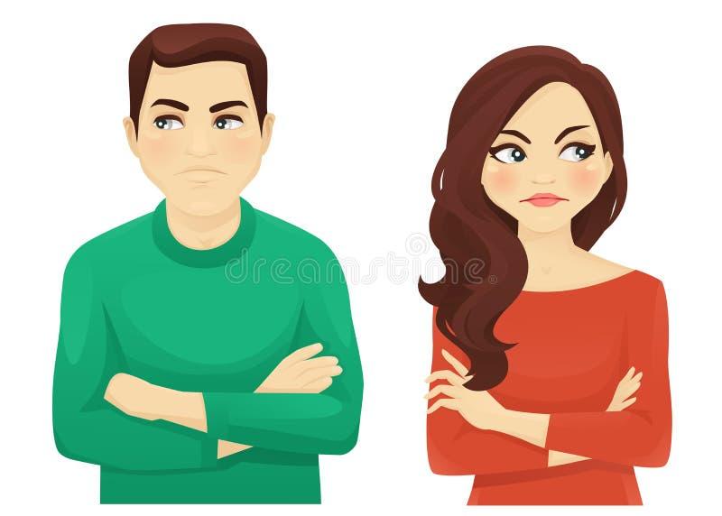 Emoción enojada de la mujer y del hombre ilustración del vector