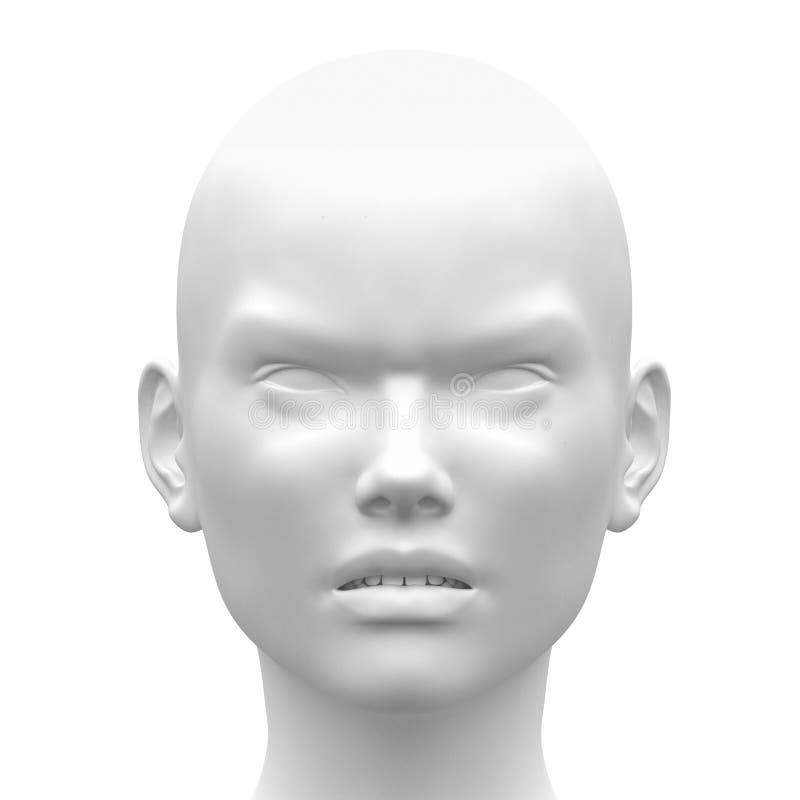 Emoción enojada femenina blanca en blanco de la cara - vista delantera ilustración del vector