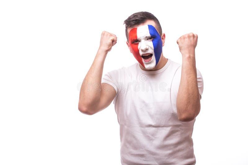 Emoción eufórica del fanático del fútbol de Francia de la cuenta en el partido o el triunfo del juego del equipo de fútbol del na foto de archivo