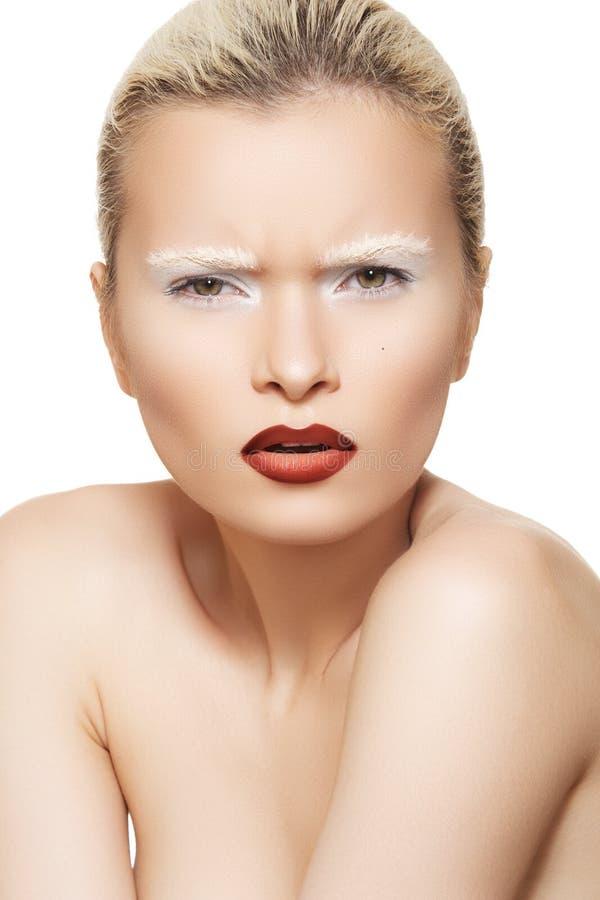 Emoción facial, maquillaje de la alta manera en la cara modelo fotos de archivo libres de regalías