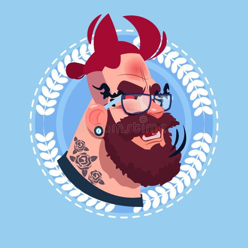 Emoción masculina Avatar, cara sonriente feliz del icono del perfil del retrato de la historieta del hombre del inconformista con ilustración del vector