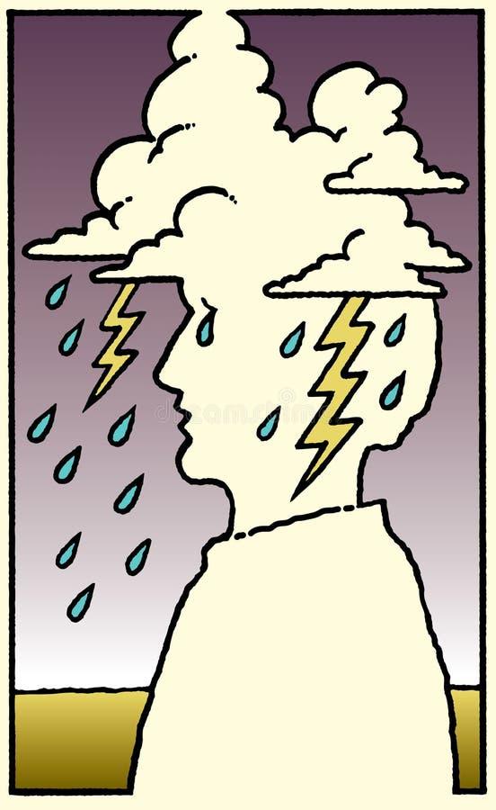 Emoción o dolor de cabeza humana ilustración del vector