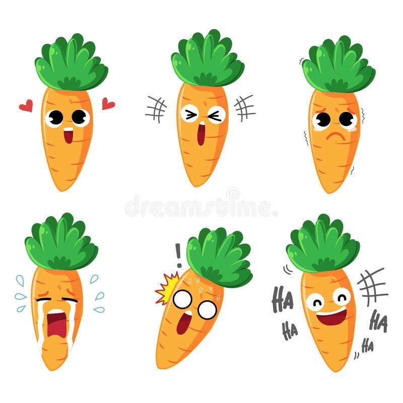 Emoción y acciones de la zanahoria del carácter libre illustration