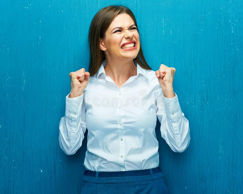 Emoci kobiety makler gdy ceny akcji będą spada puszkiem obraz royalty free