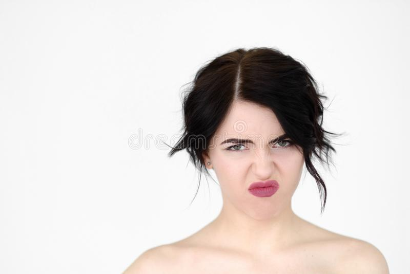 Emoci twarzy złego odoru zapachu śmierdzaca obmierzłość zdjęcie stock