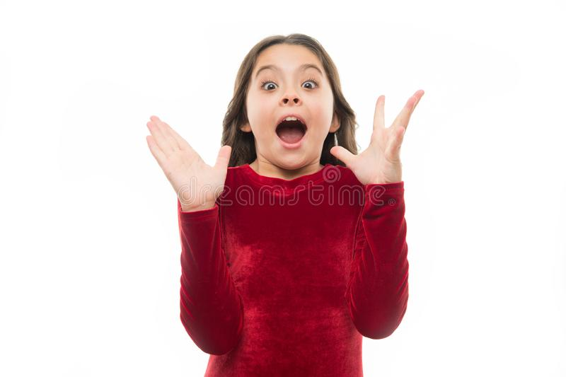 Emocional emocionado del niño no puede creer sus ojos Emoción que sorprende Expresión emocionada linda de la cara de la muchacha  imagen de archivo