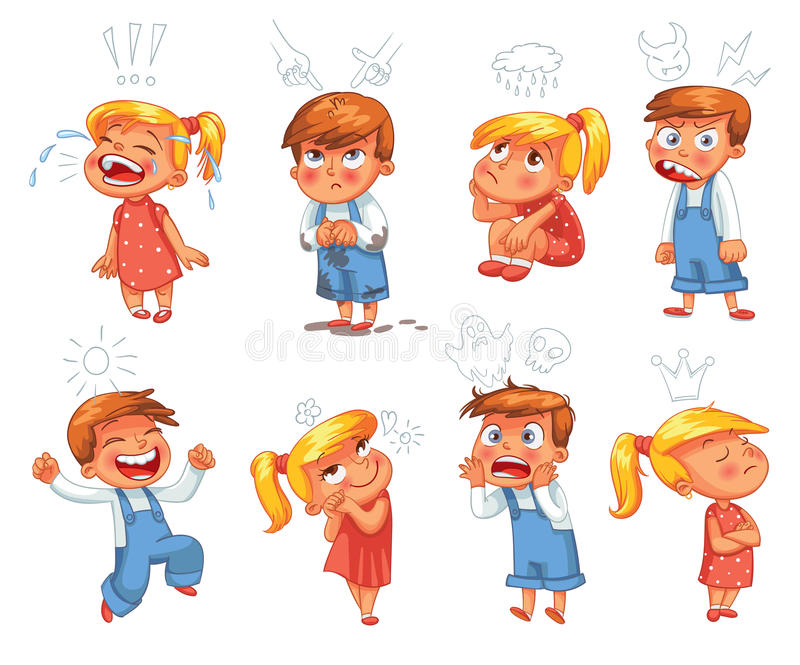 Emociones básicas Personaje de dibujos animados divertido stock de ilustración