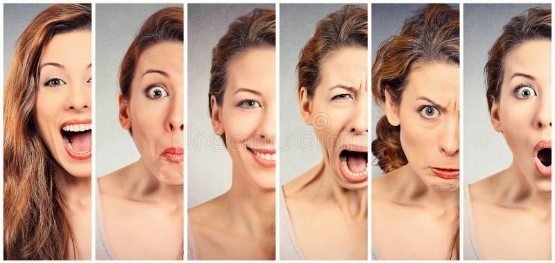 Emociones cambiantes del humor de la mujer joven imagen de archivo libre de regalías