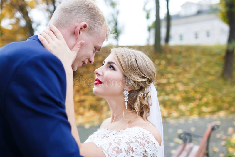 Emociones de la boda del otoño imágenes de archivo libres de regalías