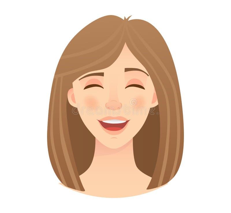 Emociones de la cara de la mujer stock de ilustración