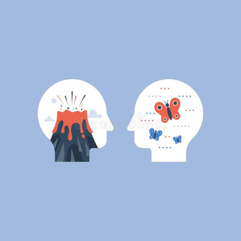 Emociones de la comparación de la cólera o de la calma, del concepto del stress mental, del oscilación de humor, positivas o n ilustración del vector