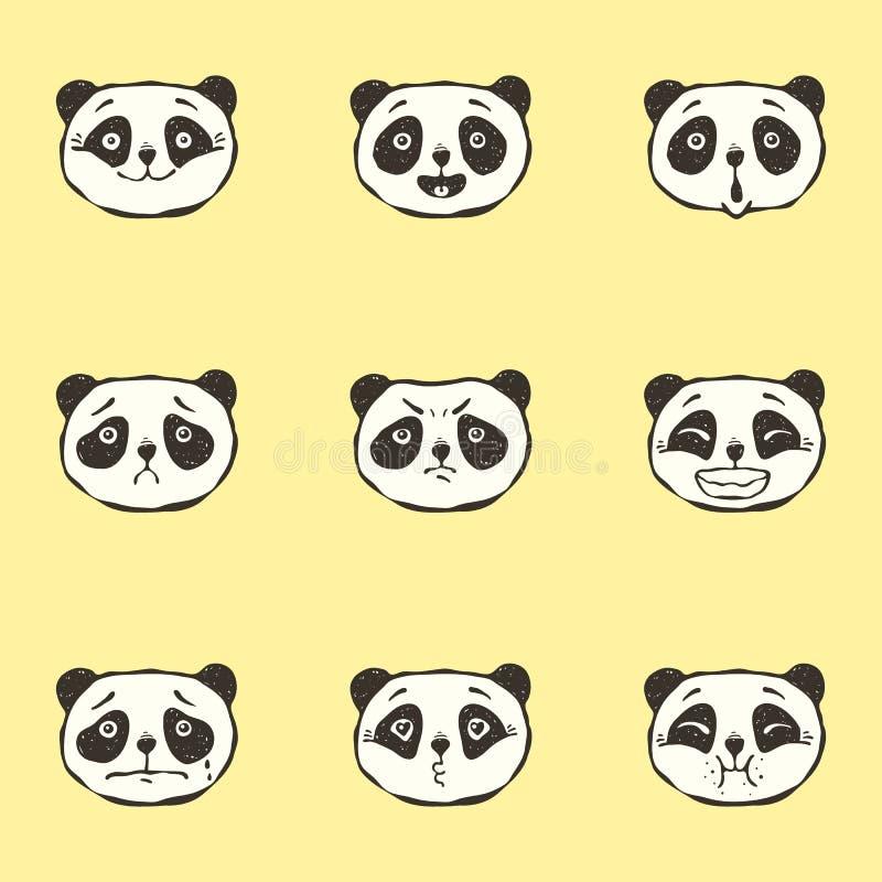 Emociones de la panda stock de ilustración
