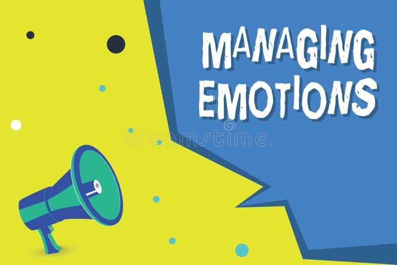 Emociones de manejo del texto de la escritura de la palabra El concepto del negocio para las sensaciones que controlan en sí mism libre illustration