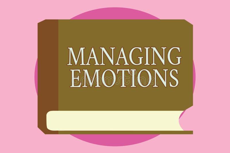 Emociones de manejo del texto de la escritura de la palabra El concepto del negocio para las sensaciones que controlan en sí mism ilustración del vector