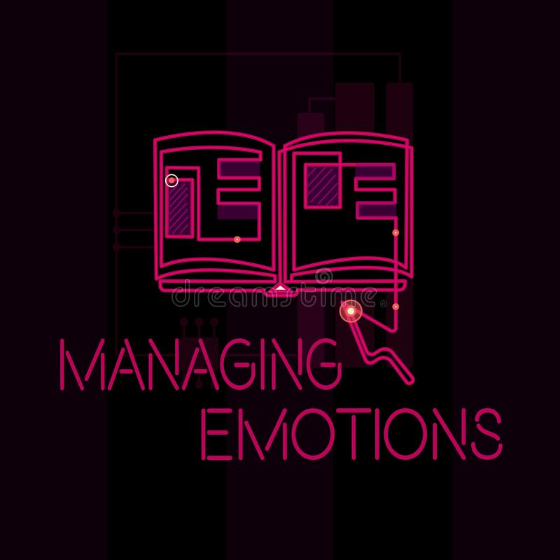 Emociones de manejo del texto de la escritura de la palabra El concepto del negocio para las sensaciones que controlan en sí mism stock de ilustración
