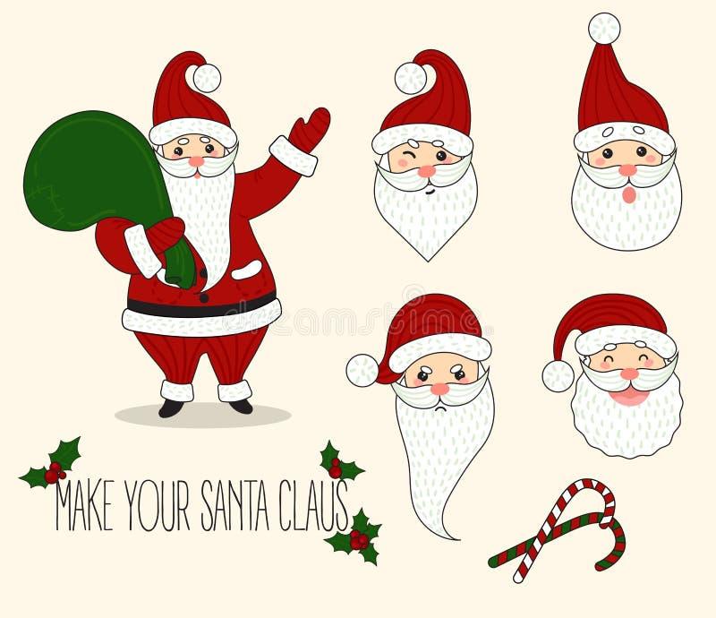 Emociones de Santa Claus de la historieta diversas libre illustration