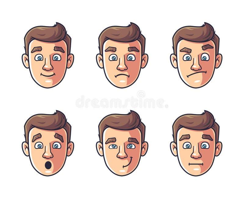 Emociones de un carácter stock de ilustración