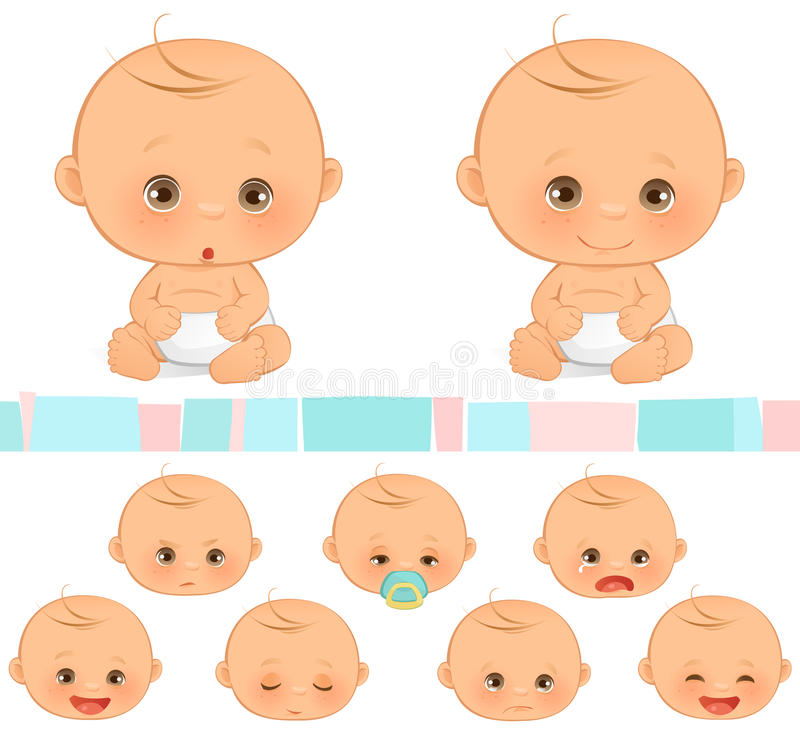 Emociones del bebé stock de ilustración