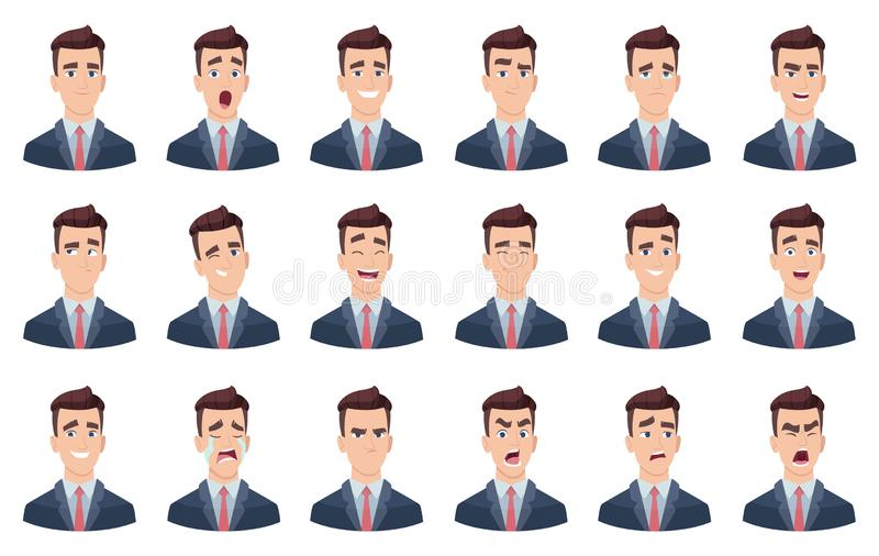 Emociones del hombre Caracteres principales del vector del retrato de los caracteres de diversa de las caras de la tristeza sonri stock de ilustración