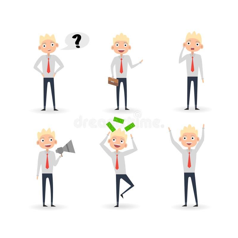 Emociones del hombre de negocios 6 del carácter stock de ilustración