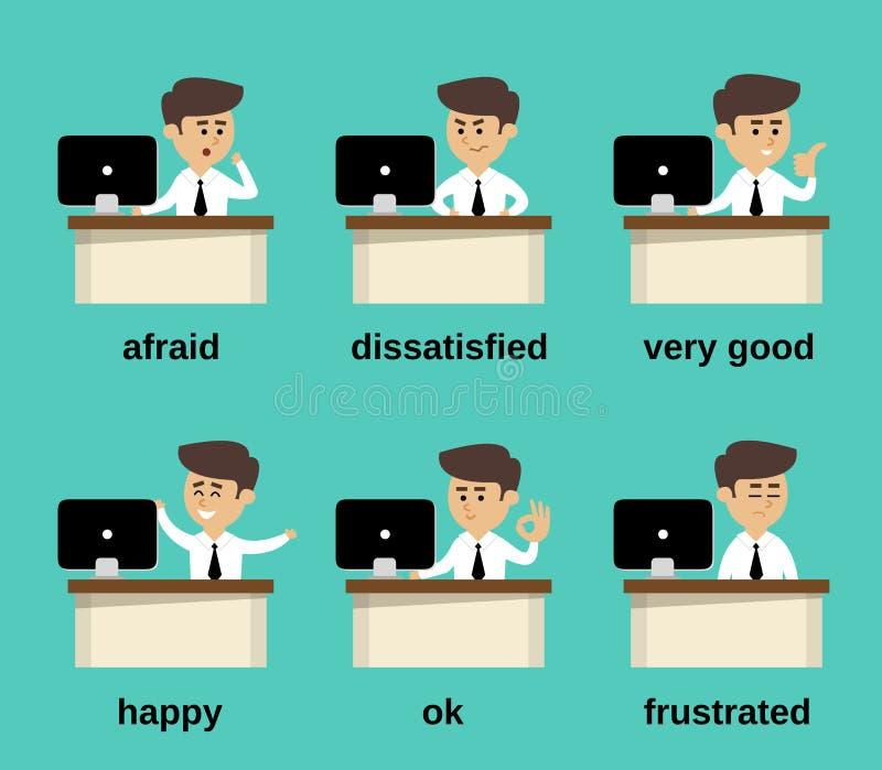 Emociones del hombre de negocios fijadas libre illustration