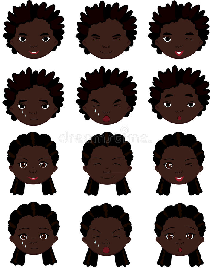 Emociones del muchacho y de la muchacha del Afro: alegría, sorpresa, miedo, tristeza, dolor libre illustration