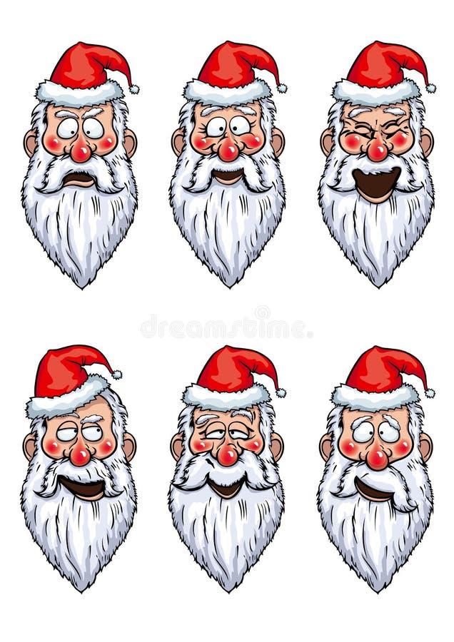 Emociones divertidas de Santa Claus fijadas stock de ilustración
