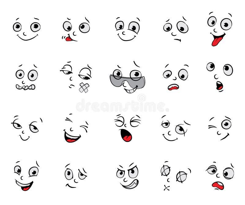 Emociones. Expresiones faciales de la historieta fijadas stock de ilustración