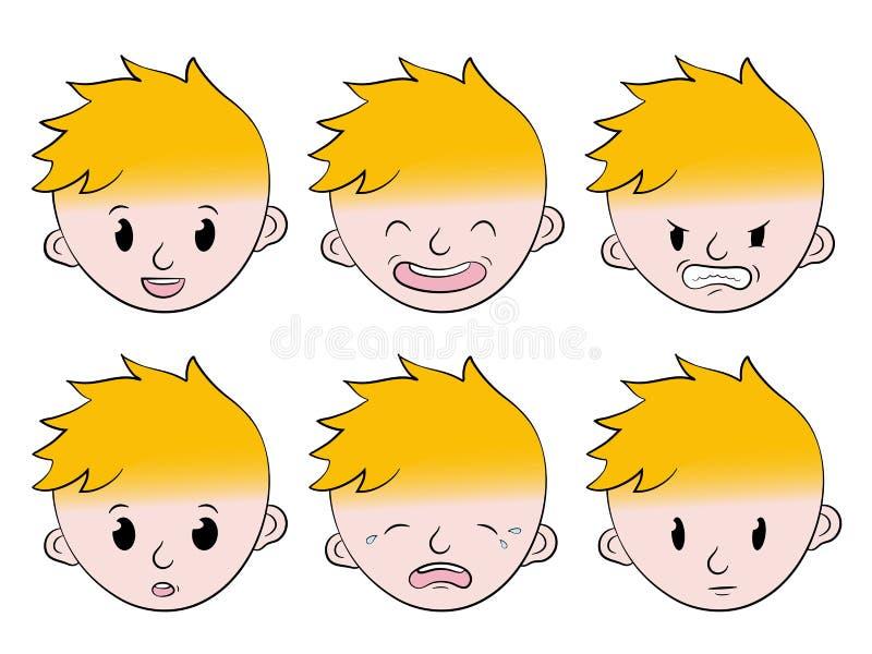 Emociones faciales del niño pequeño fijadas stock de ilustración