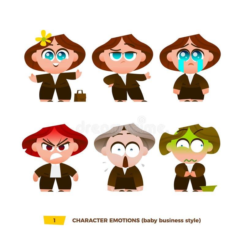 Emociones lindas de los caracteres del bebé fijadas libre illustration