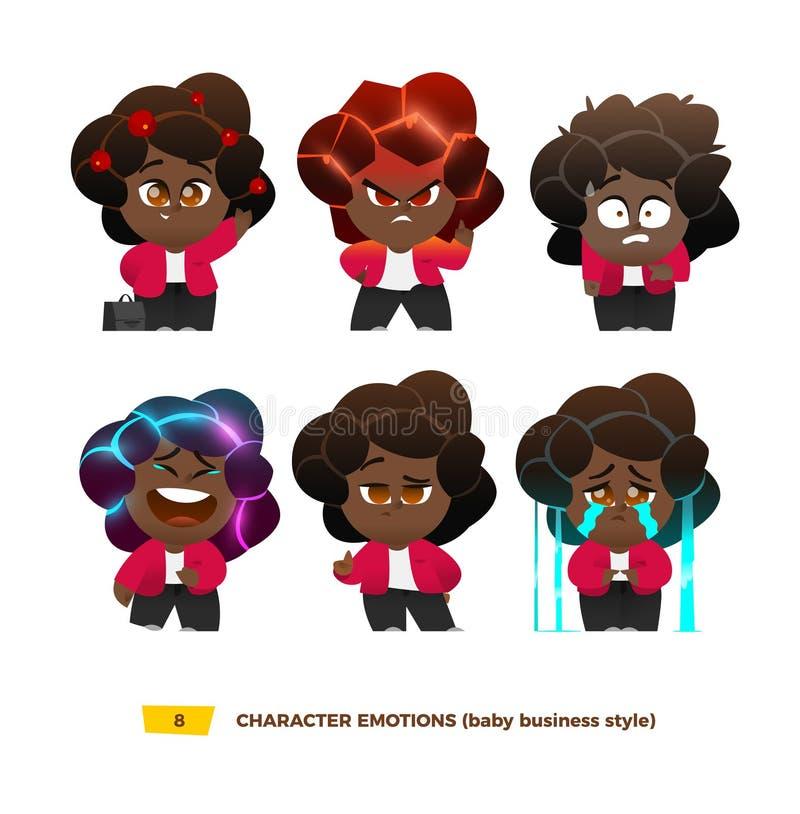 Emociones lindas de los caracteres del bebé fijadas ilustración del vector