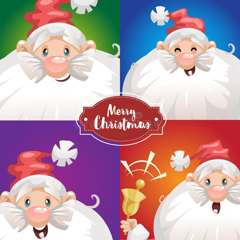 Emociones lindas de Santa Claus de la historieta diversas Expresiones grandes de la cara Juego de caracteres de la Navidad Escrit ilustración del vector