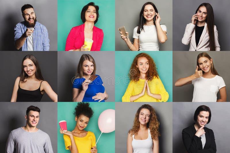Emociones positivas diversas de la gente joven fijadas imagenes de archivo