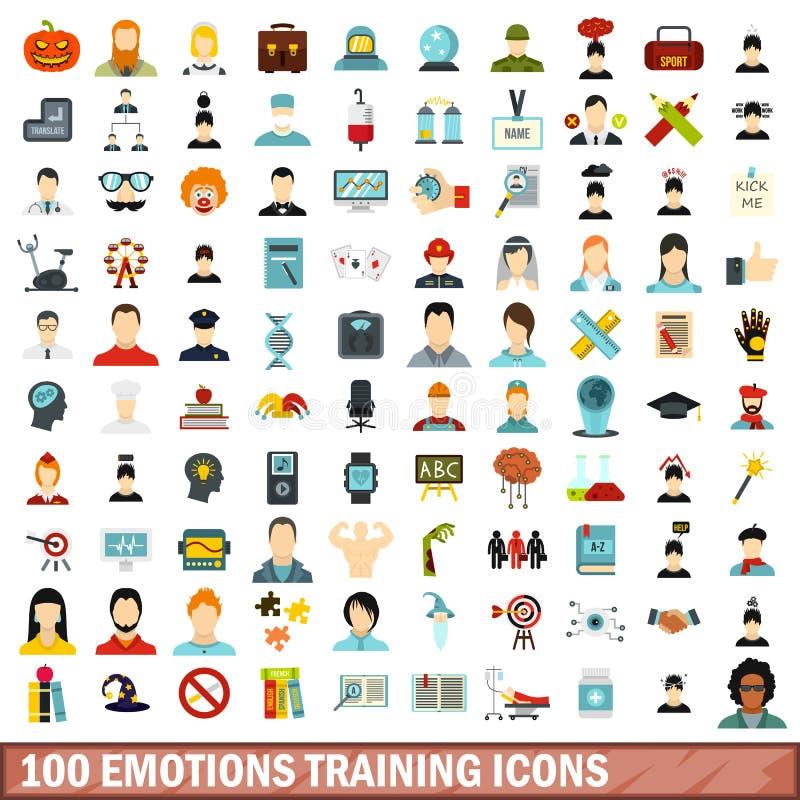 100 emociones que entrenan a los iconos fijados, estilo plano stock de ilustración