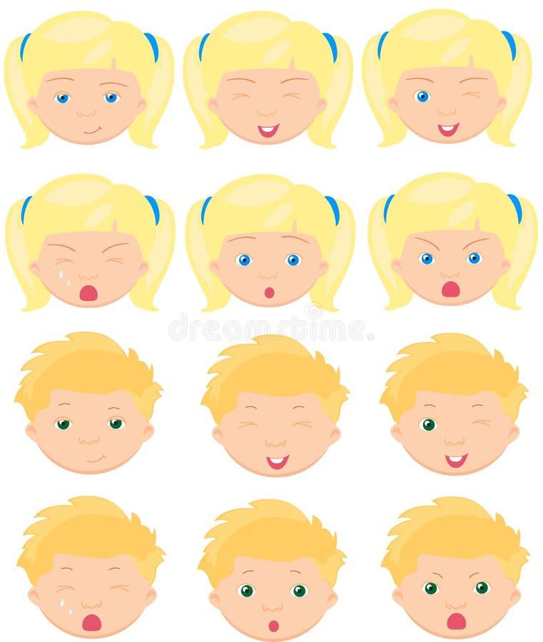 Emociones rubias de la muchacha y del muchacho: alegría, sorpresa, miedo, tristeza ilustración del vector