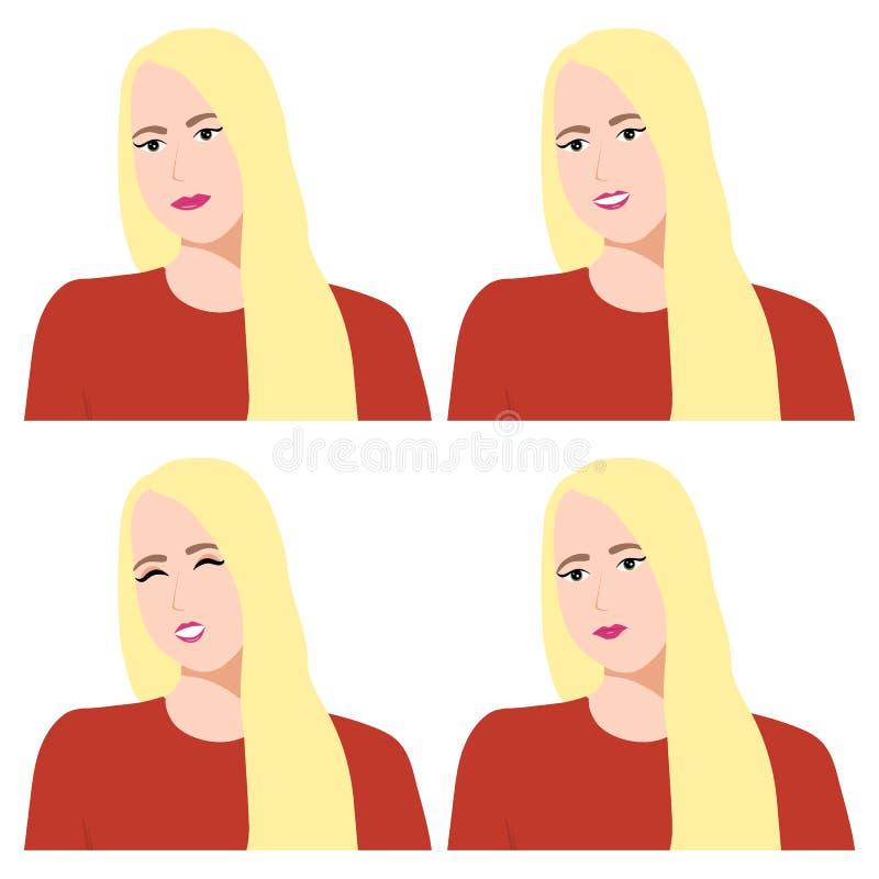 Emociones y sensaciones de una muchacha en un fondo blanco stock de ilustración