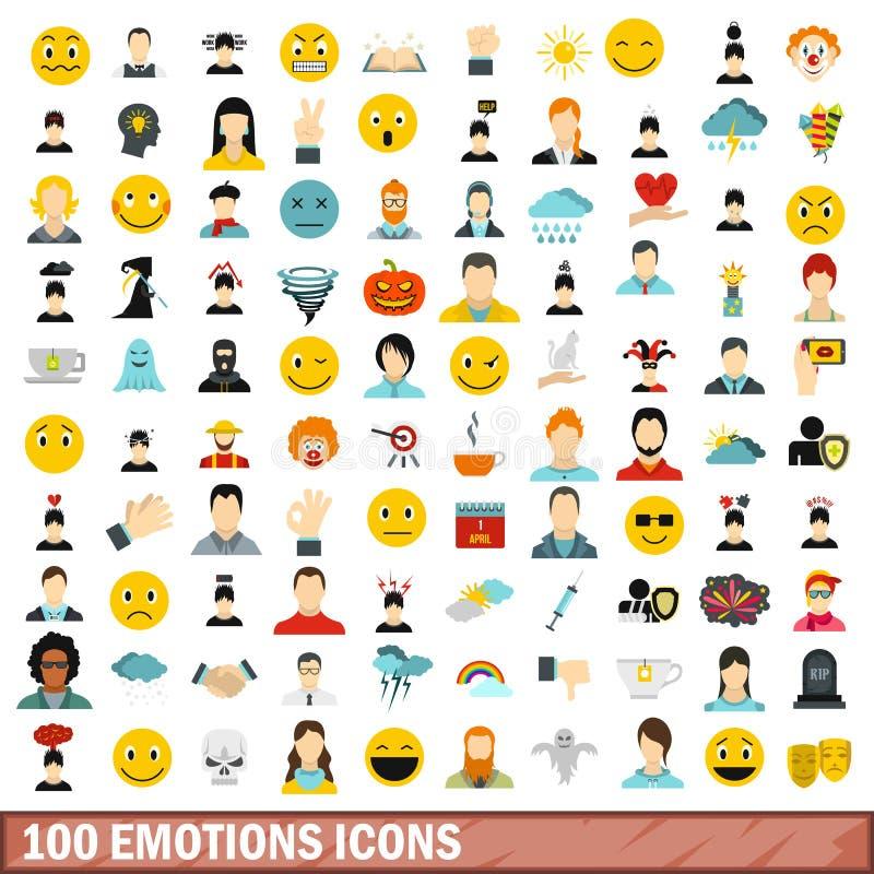 100 emocj ikon ustawiających, mieszkanie styl ilustracji