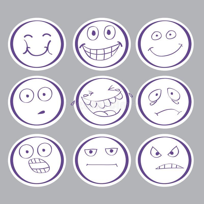 Emocj pociągany ręcznie avatars zdjęcie royalty free