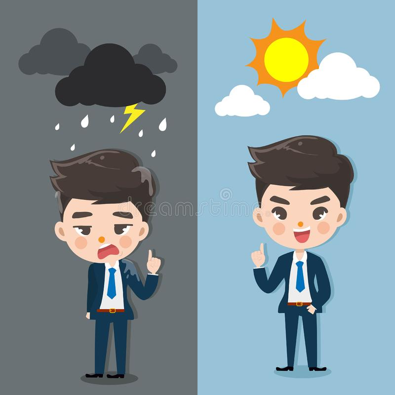 Emocja mężczyzny dobry dzień i zły dzień royalty ilustracja