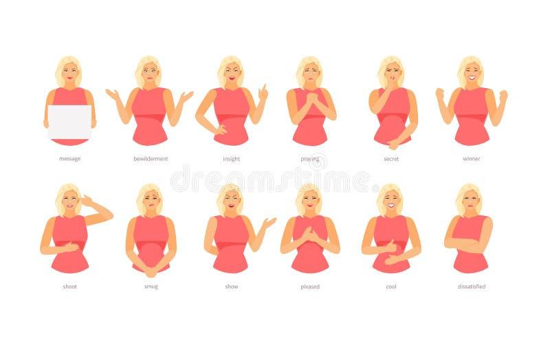 Emocje i gest kobiety charakter ilustracja wektor