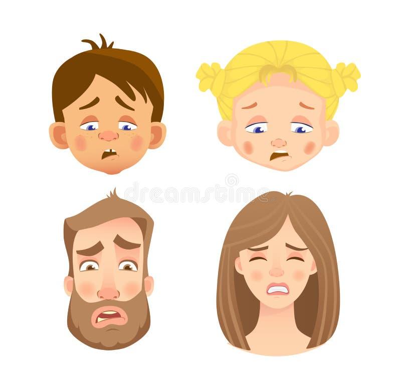 Emocje twarz ludzka - set ilustracja wektor
