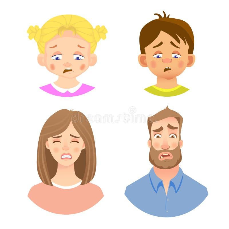 Emocje twarz ludzka - set royalty ilustracja