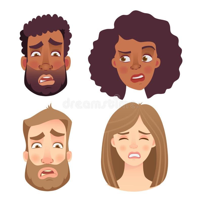 Emocje twarz ludzka set ilustracji