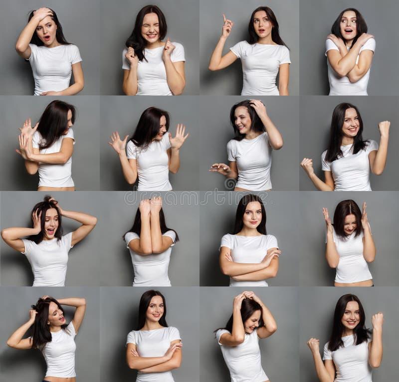 Emocje ustawiać młoda kobieta przy pracownianym tłem zdjęcia royalty free