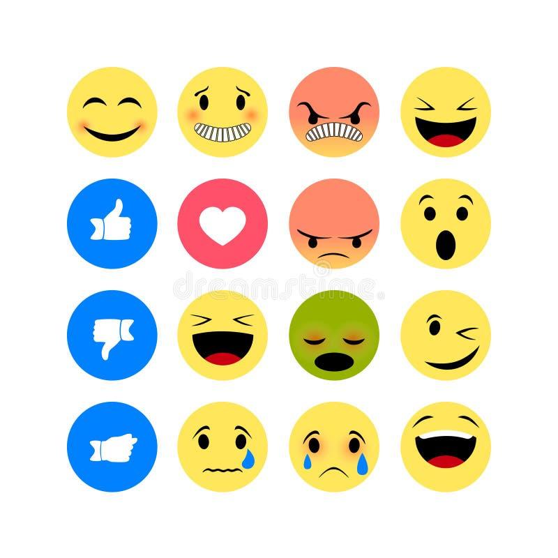 Emocji ikony odizolowywać na białym tle ilustracja wektor