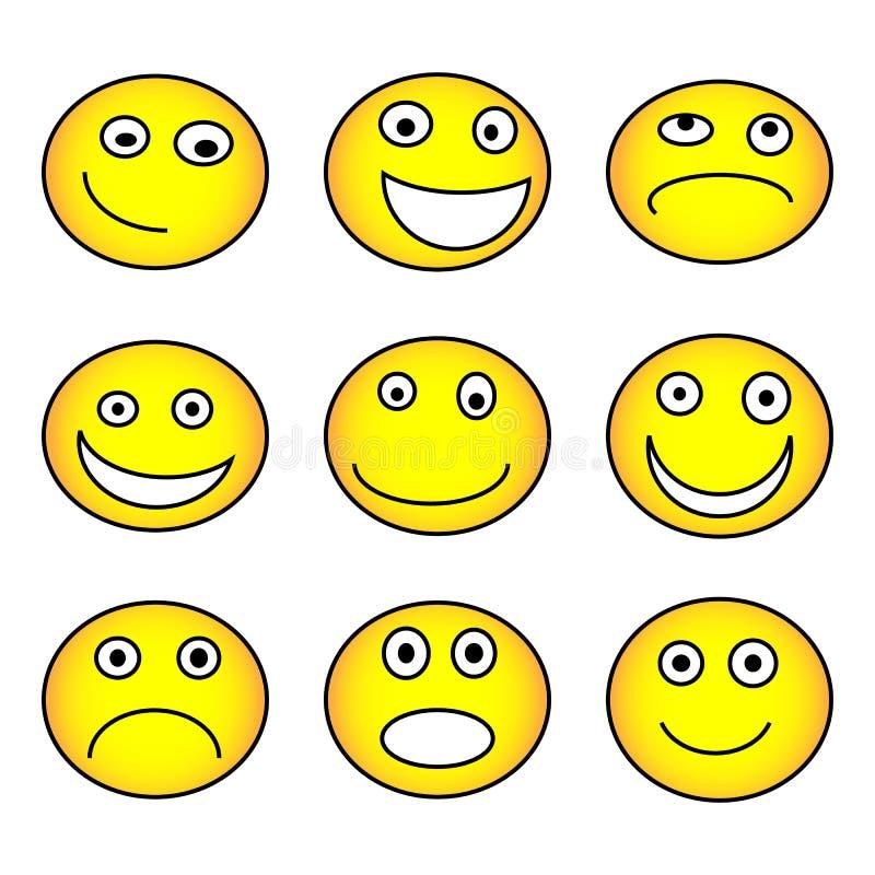 Emocji ikony set, kolor żółty odizolowywający na białym tle, wektorowa ilustracja ilustracja wektor