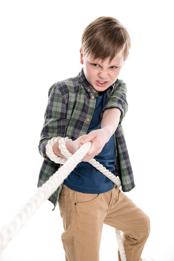Emocjonalna chłopiec ciągnięcia arkana fotografia stock